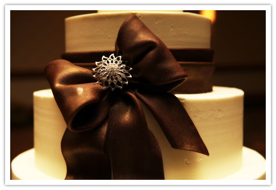 Reception, Flowers & Decor, Cakes, brown, cake, Ribbon Wedding Cakes, Ribbon, With