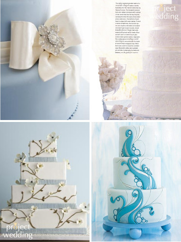Cakes, white, blue, Wedding