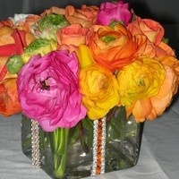 Reception, Flowers & Decor, yellow, orange, pink, red, purple, green, Centerpieces, Flowers, Centerpiece
