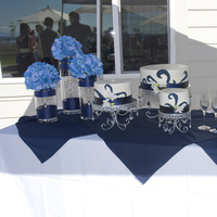 Reception, Flowers & Decor, Cakes, white, blue, cake