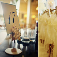 Reception, Flowers & Decor, yellow, gold, Centerpieces, Tables & Seating, Centerpiece, Wedding, Table, Chairs, Setting