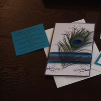 Beauty, Stationery, blue, brown, gold, Feathers, Invitations, Teal, Ribbon, Peacock, Feather