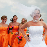 Bridesmaids, Bridesmaids Dresses, Wedding Dresses, Beach Wedding Dresses, Fashion, orange, pink, dress, Beach, Roses, Berries, Gerbera