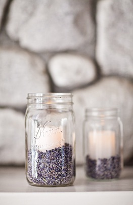 Ceremony, Reception, Flowers & Decor, white, purple, Ceremony Flowers, Candles, Flowers, Lavender, Jar