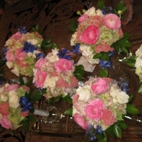 Flowers & Decor, white, pink, blue, green, Flowers, Hydrangea, Delphinium, Spray roses, Lizzianthus, Ranaculas, Rice flower