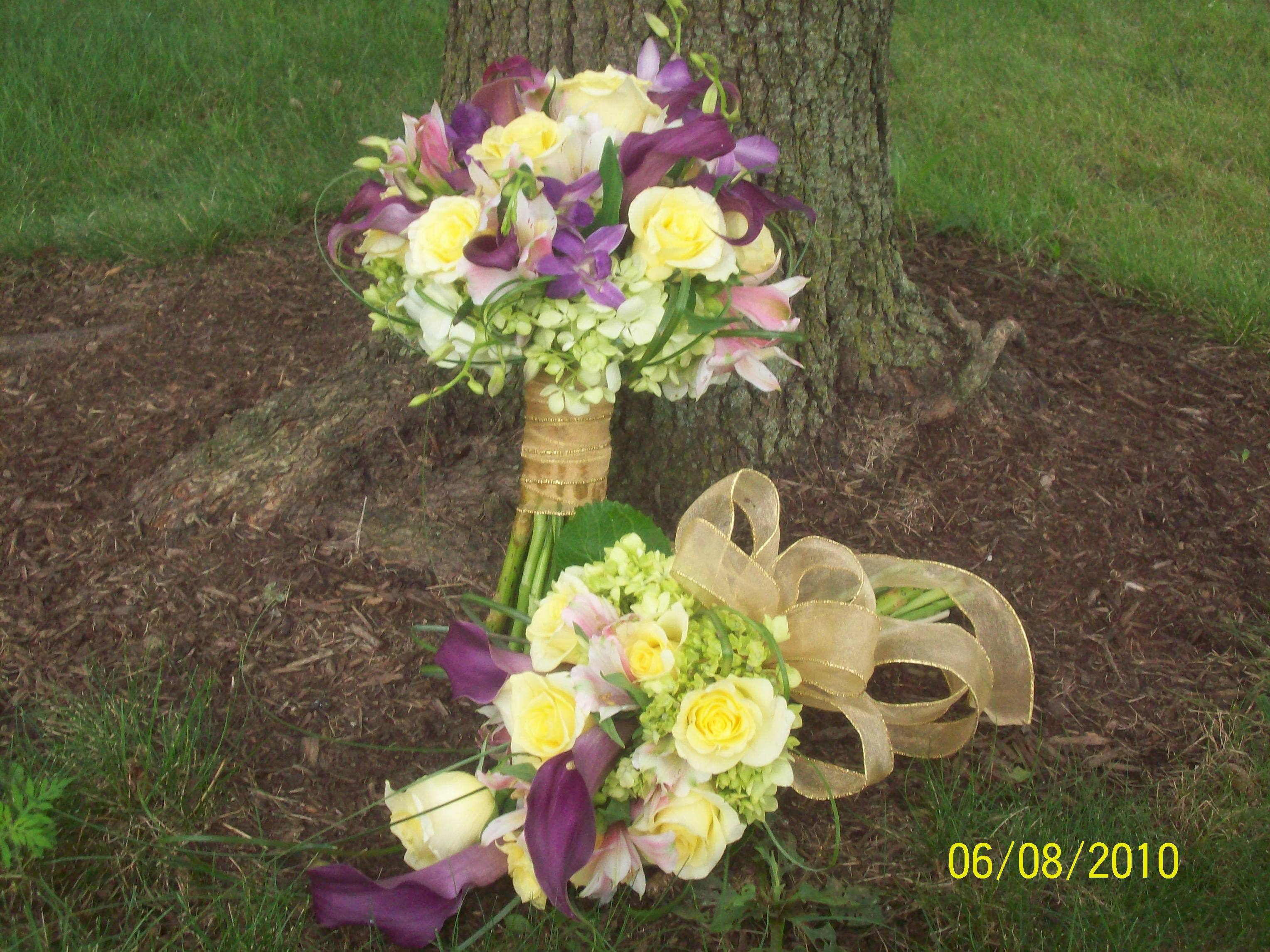 Ceremony, Flowers & Decor, Bridesmaids, Bridesmaids Dresses, Fashion, yellow, purple, Ceremony Flowers, Bride Bouquets, Bridesmaid Bouquets, Flowers, Brides, Bouquets, Flower Wedding Dresses