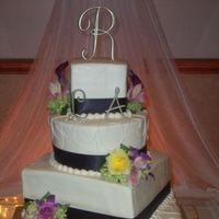 Reception, Flowers & Decor, Cakes, yellow, purple, cake, Flowers