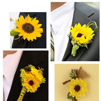 Flowers & Decor, yellow, Boutonnieres, Flowers, Boutonniere, Sunflower