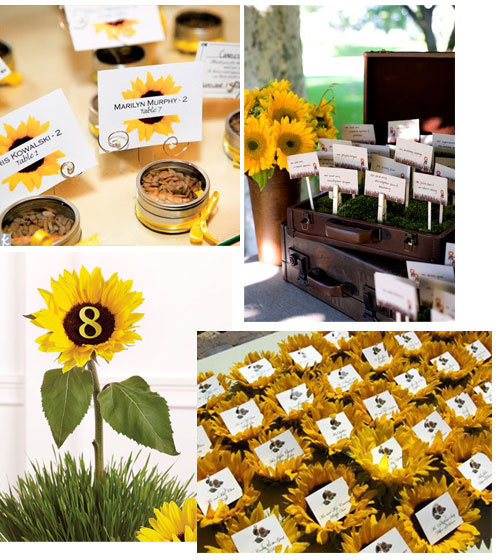Reception, Flowers & Decor, yellow, Place Cards, Name cards, Sunflower, Seating arrangement, Table marker