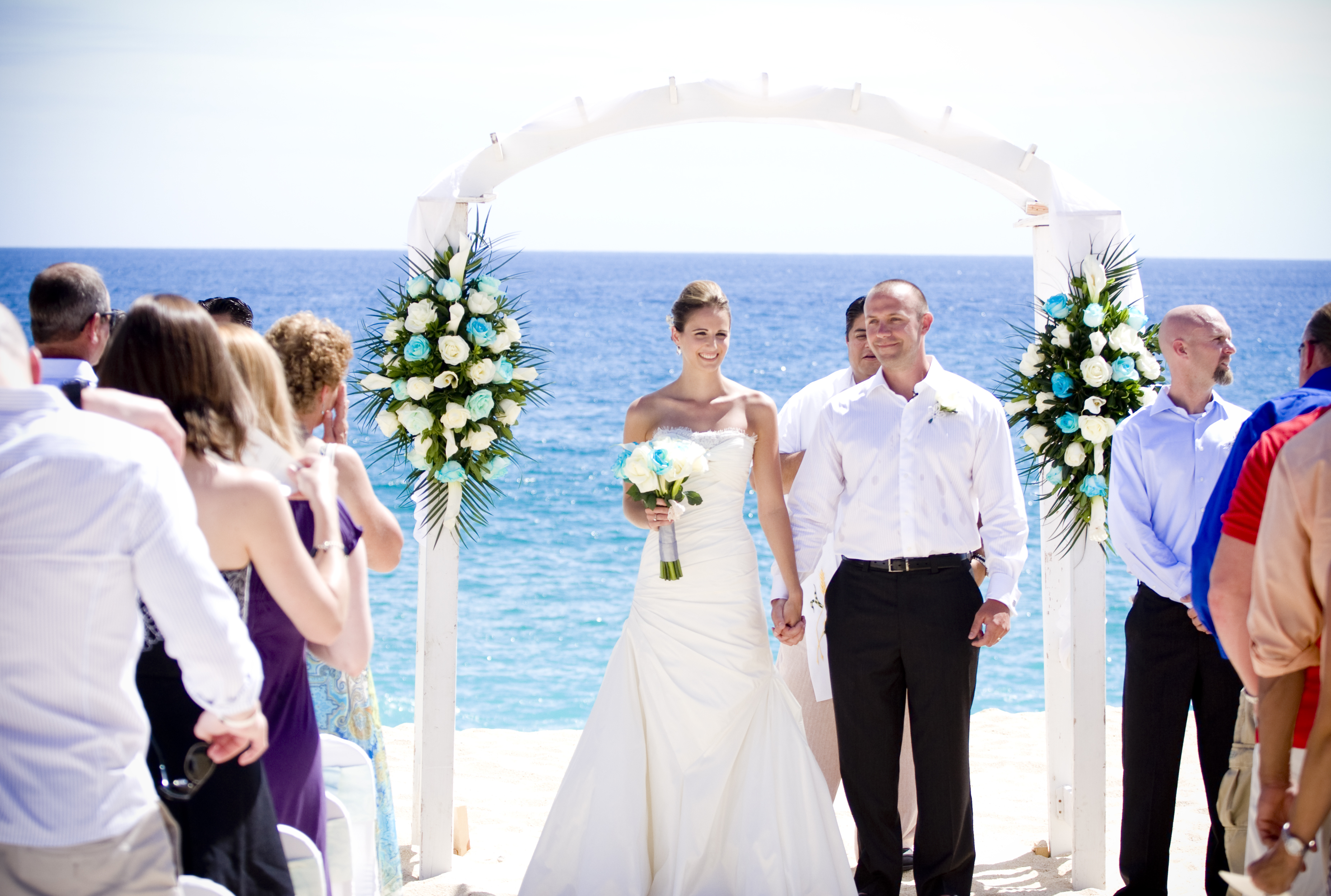 Ceremony, Flowers & Decor, Wedding Dresses, Beach Wedding Dresses, Destinations, Fashion, dress, Mexico, Beach, Ceremony Flowers, Flowers, Beach Wedding Flowers & Decor, Cabo, Flower Wedding Dresses