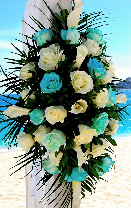 Ceremony, Flowers & Decor, white, blue, Beach, Ceremony Flowers, Flowers, Beach Wedding Flowers & Decor