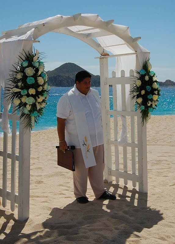 Ceremony, Flowers & Decor, Destinations, white, blue, Mexico, Beach, Ceremony Flowers, Flowers, Beach Wedding Flowers & Decor, Cabo