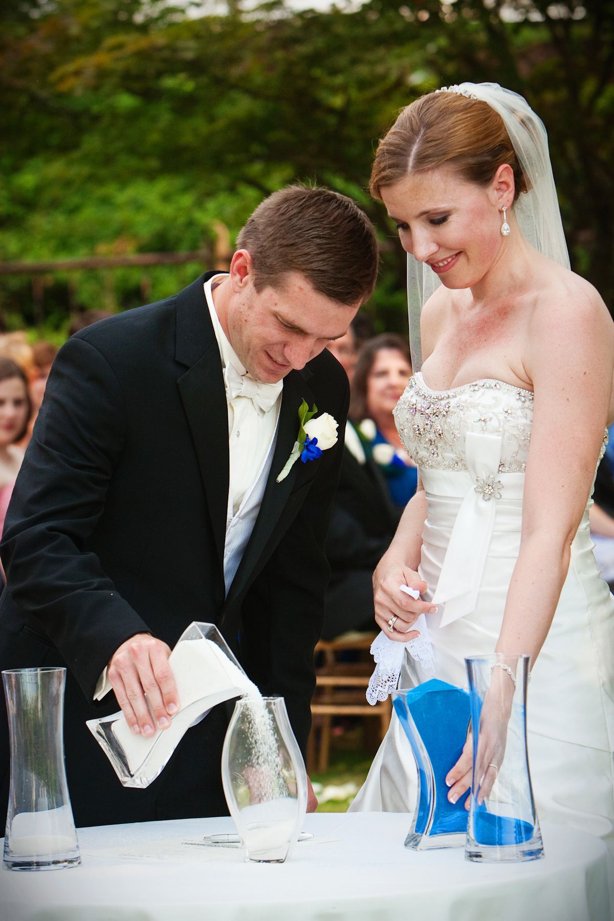 Ceremony, Flowers & Decor, white, blue, Park, Sand, Outside