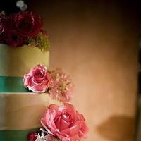 Cakes, pink, blue, cake, Floral Wedding Cakes, Round Wedding Cakes