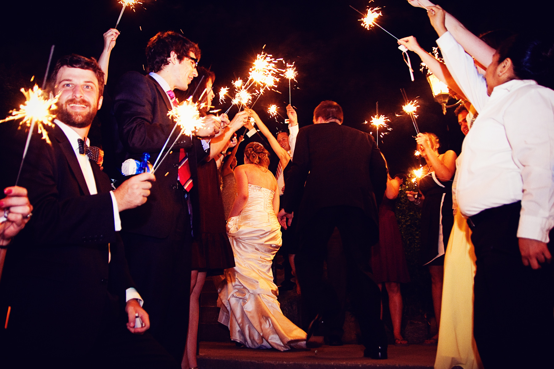 Reception, Flowers & Decor, Wedding Dresses, Fashion, white, silver, dress, Sparklers, Exit