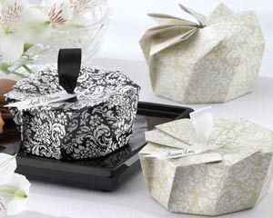 Reception, Flowers & Decor, Favors & Gifts, white, black, favor, Damask, Boxes