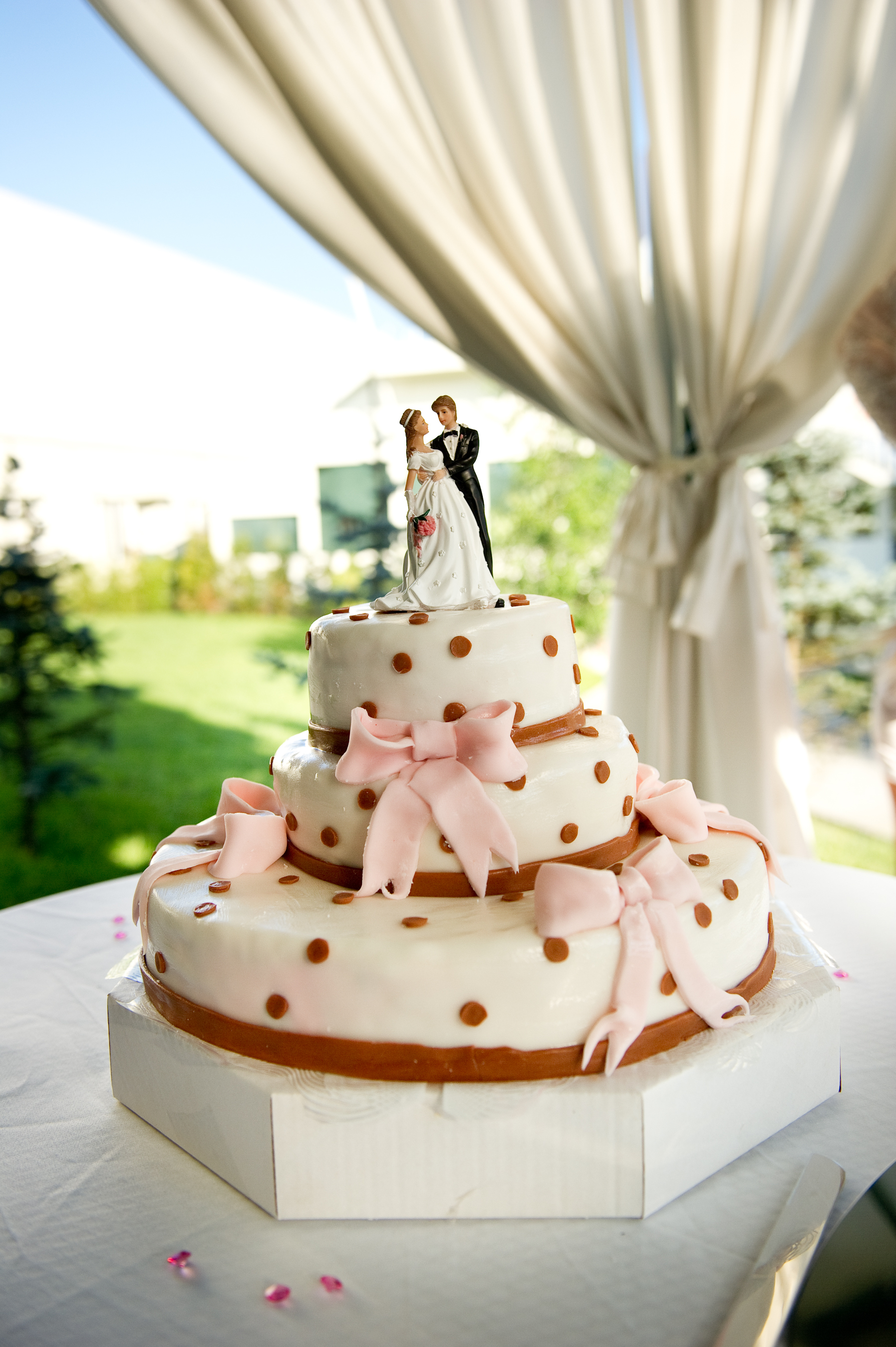 Cakes, white, ivory, pink, brown, cake, Wedding, Topper, Couple, Cream, Traditional, Dots, Bows, Dotted, Bowed