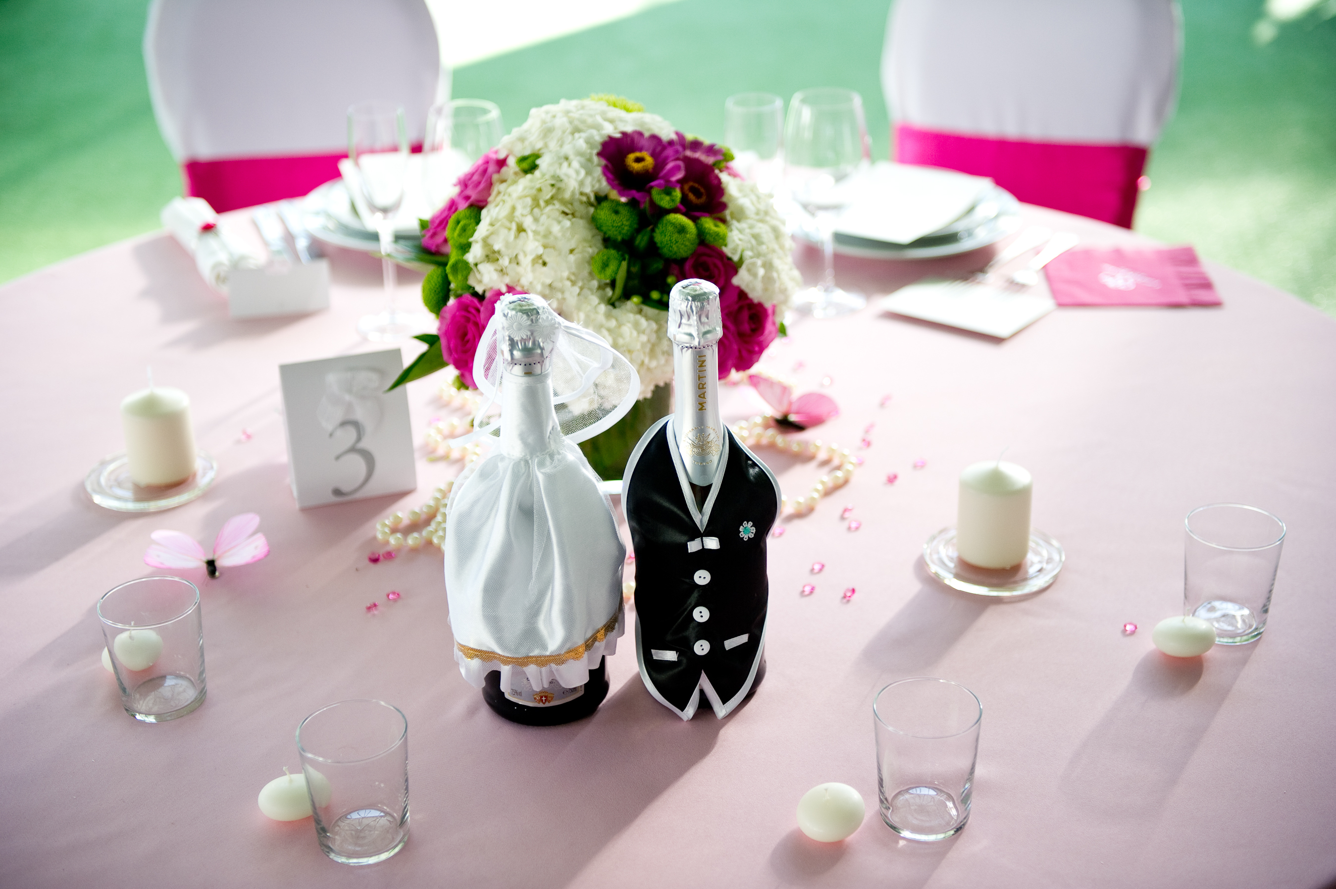 Reception, Flowers & Decor, white, pink, green, black, Bride Bouquets, Centerpieces, Bride, Candles, Flowers, Centerpiece, Groom, Wedding, Table, Crystal, Dressed, Card, Inspiration board, Butterflies, Decoration, Stationary, Bottles, Beads