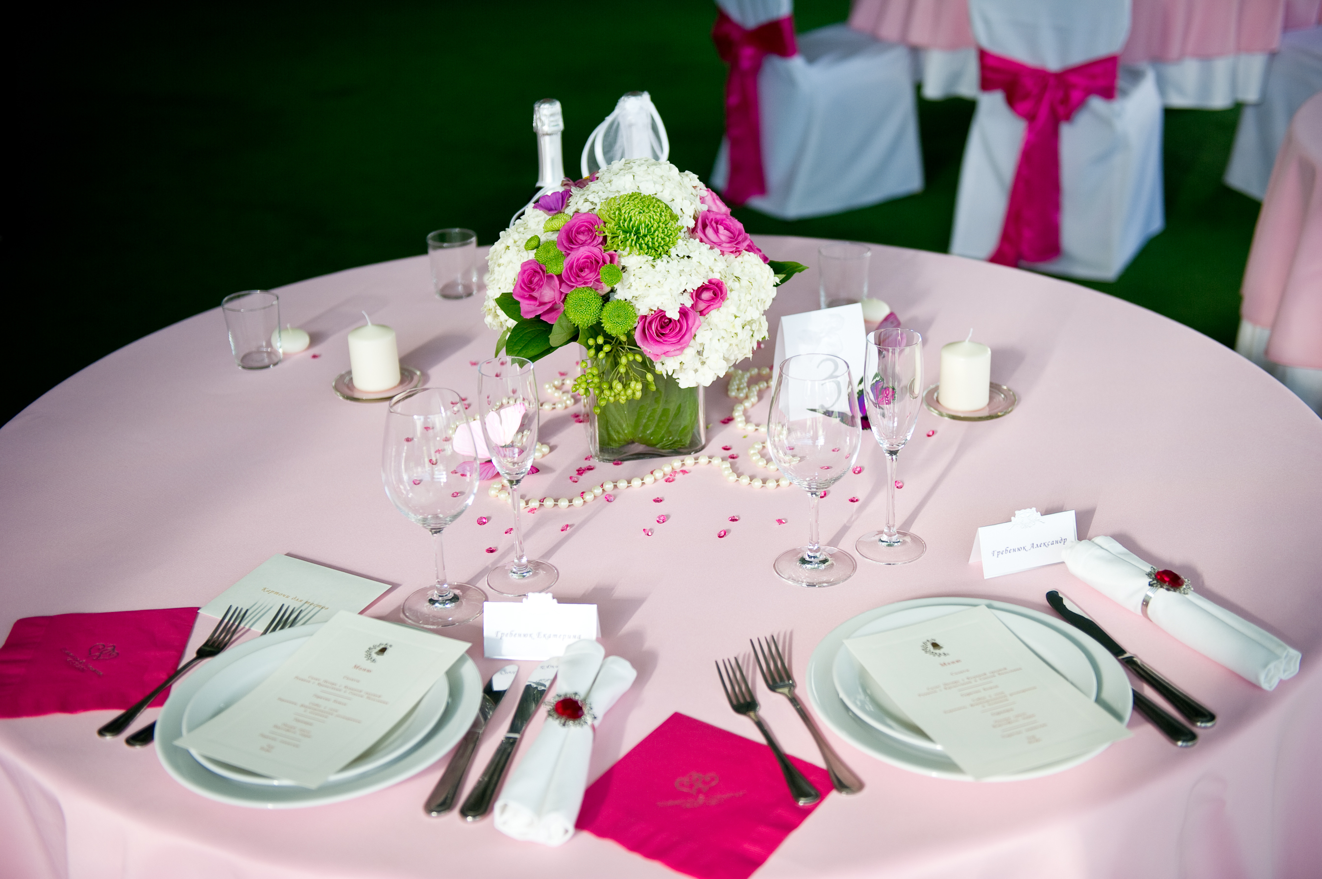 Reception, Flowers & Decor, Stationery, white, pink, green, gold, Bride Bouquets, Bride, Candles, Invitations, Flowers, Groom, Rings, Menus, Cards, Wedding, Table, And, Napkin, Place, Butterflies, Decoration, Stationary, Crystals, Beads