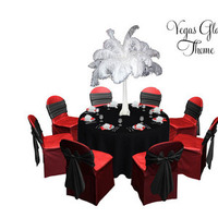 Beauty, Reception, Flowers & Decor, red, black, Feathers, Vegas, Tablescape