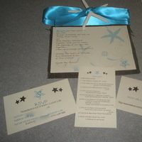 Stationery, blue, brown, Invitations