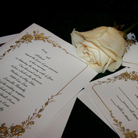 Stationery, white, green, silver, Invitations