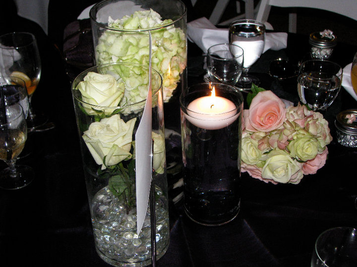 Reception, Flowers & Decor, white, pink, purple, green, Centerpieces, Candles, Flowers, Roses, Centerpiece, Peach, Pearls, Water, Hydrangea, Floating, Rocks, Vases, Eggplant, Stones, Plum, Michaels