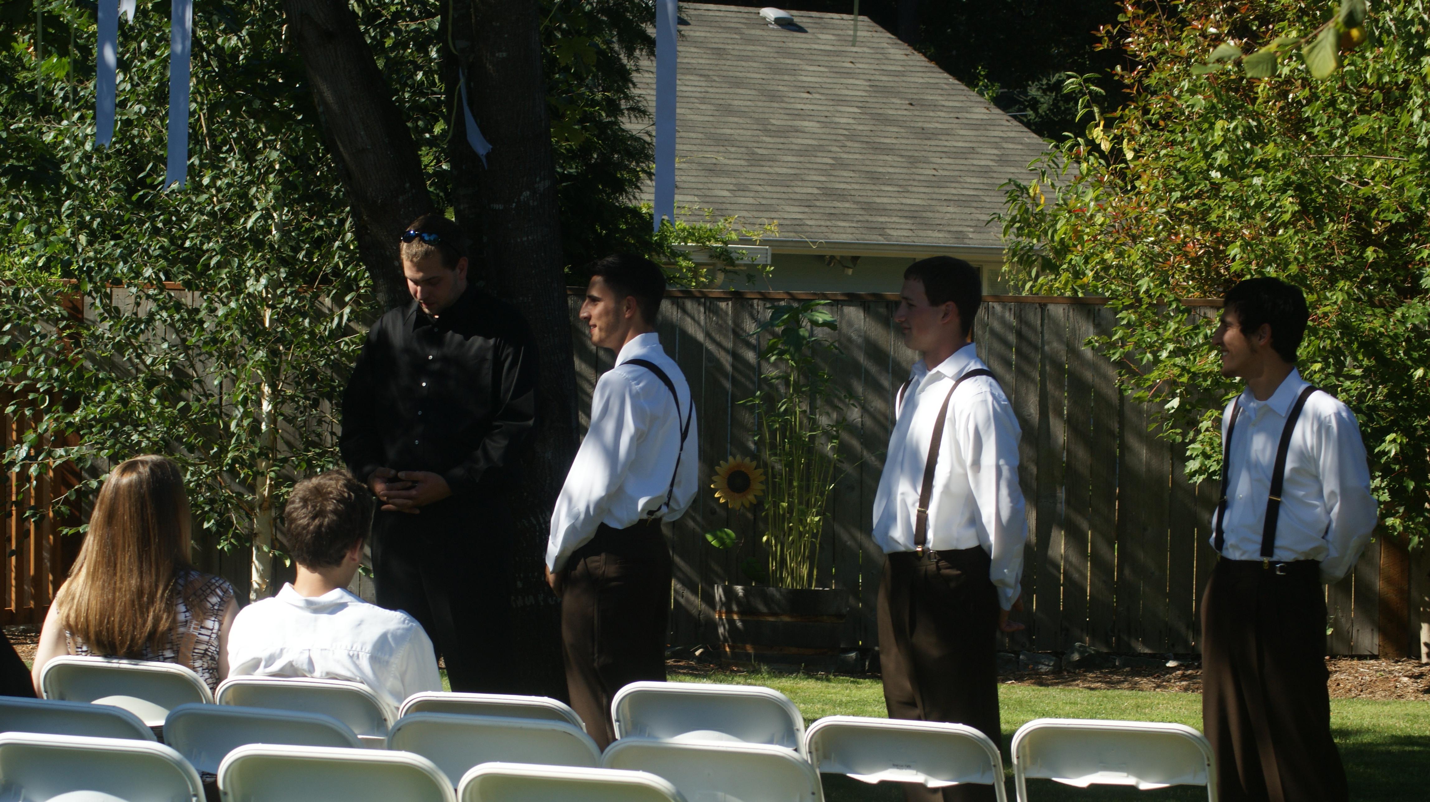 Ceremony, Flowers & Decor, brown, Vintage, Outdoor, Suspenders, Groomesmen