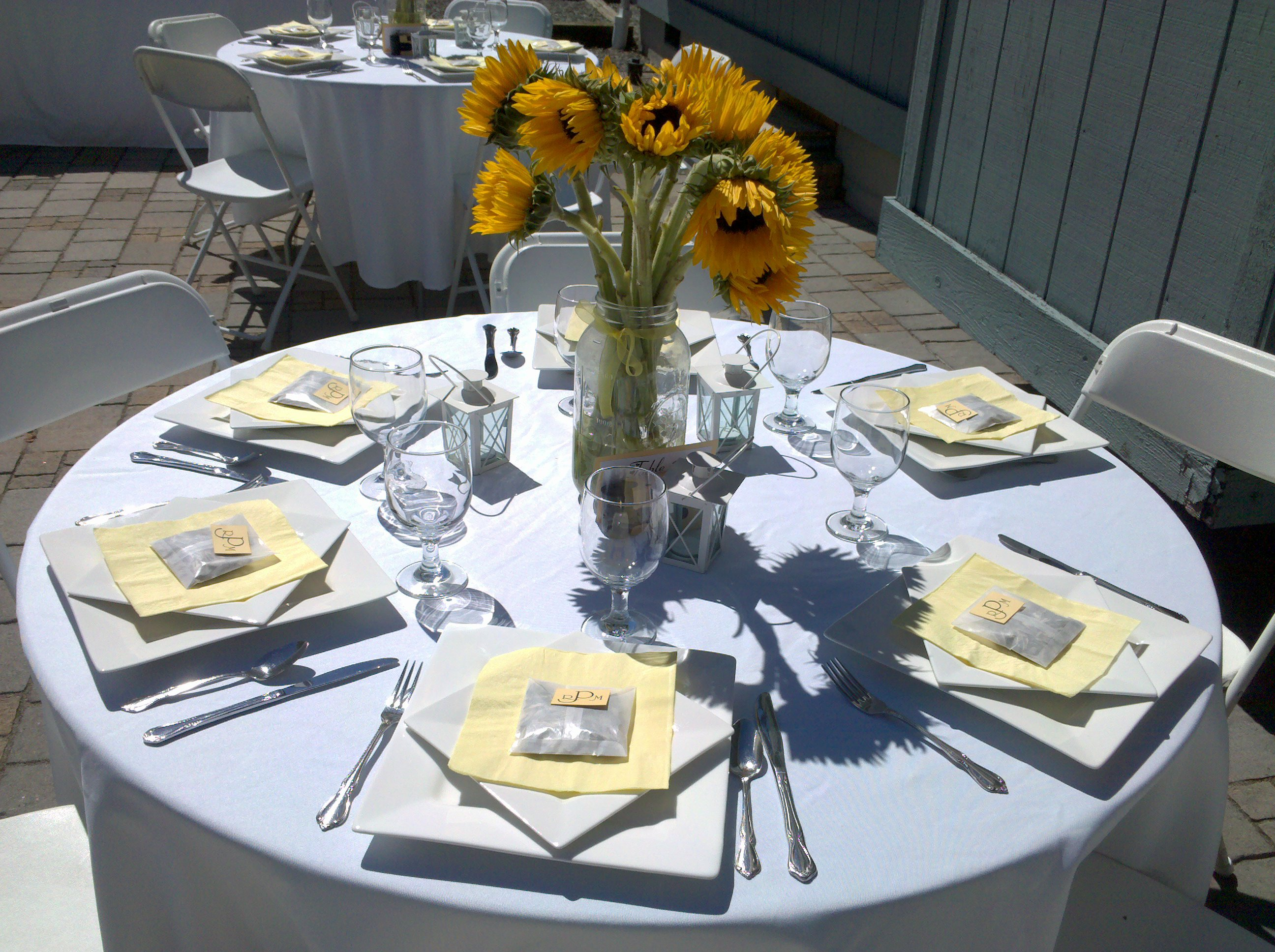 Reception, Flowers & Decor, Favors & Gifts, white, yellow, Favors, Centerpieces, Outdoor, Flower, Centerpiece, Sunflower, Place setting, Mason jar, Square plates