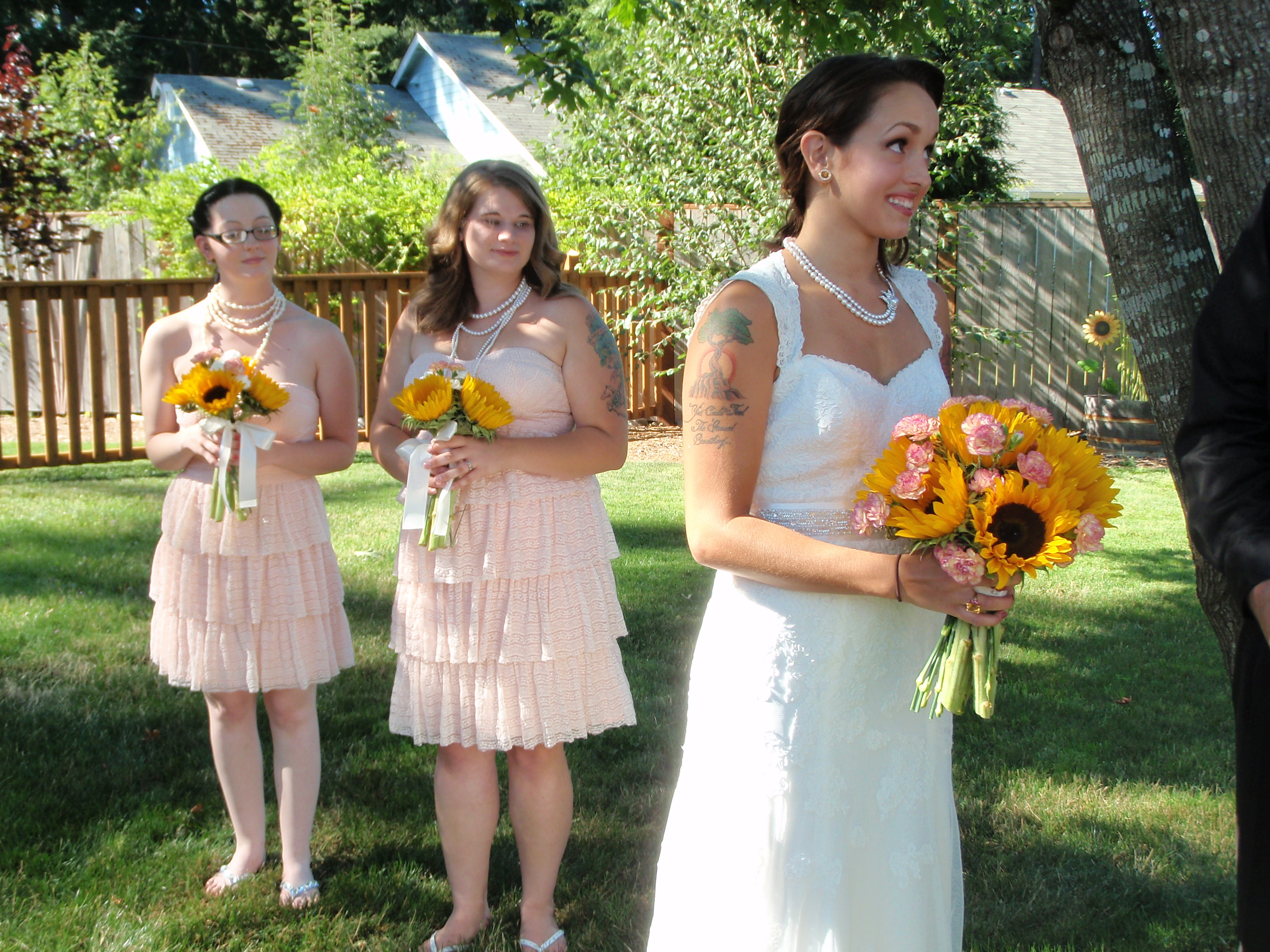 Beauty, Ceremony, Flowers & Decor, Bridesmaids, Bridesmaids Dresses, Wedding Dresses, Vintage Wedding Dresses, Fashion, white, yellow, pink, dress, Makeup, Ceremony Flowers, Bridesmaid Bouquets, Vintage, Outdoor, Flowers, Vintage Wedding Flowers & Decor, Hair, Flower Wedding Dresses