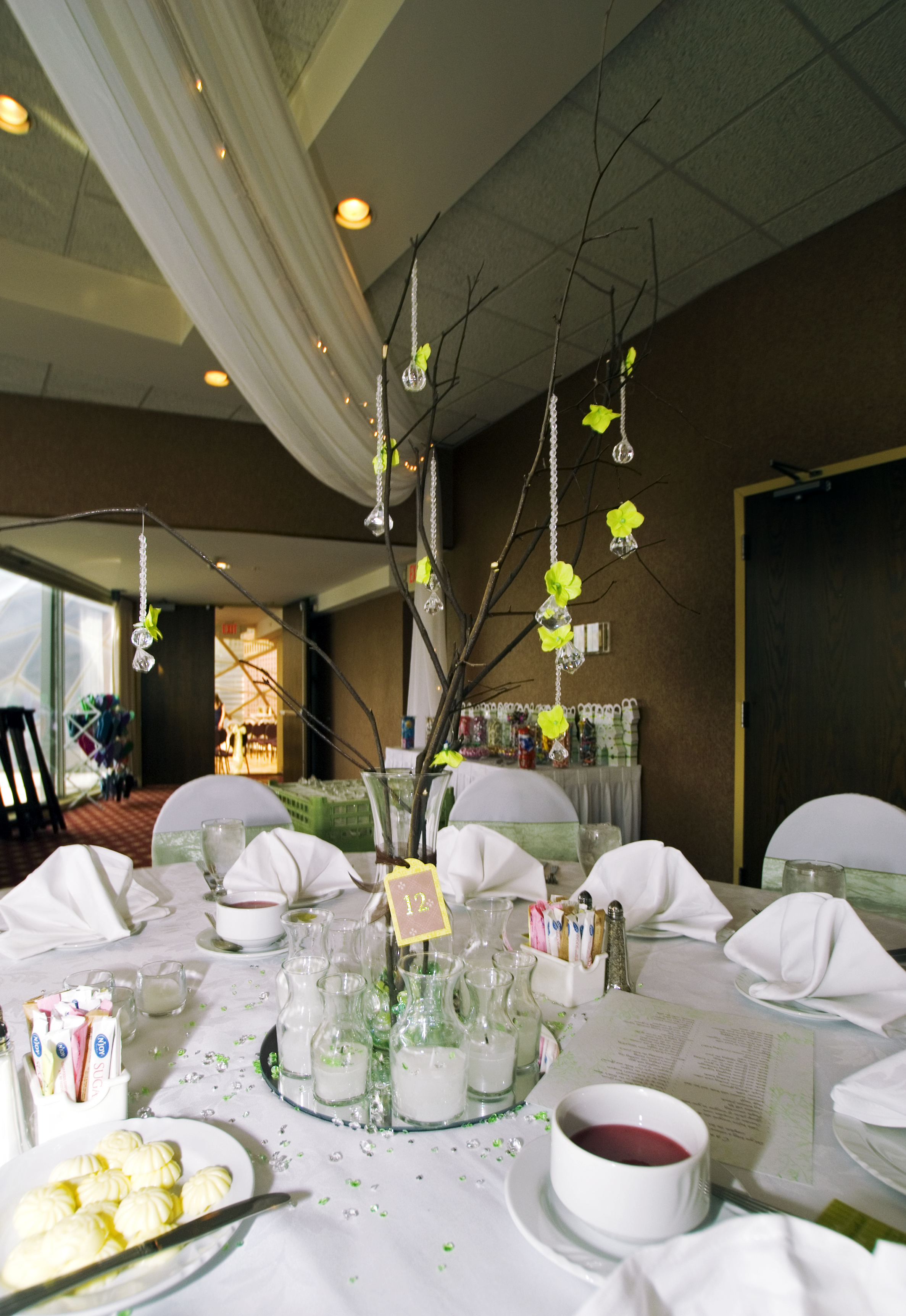 Reception, Flowers & Decor, white, green, brown
