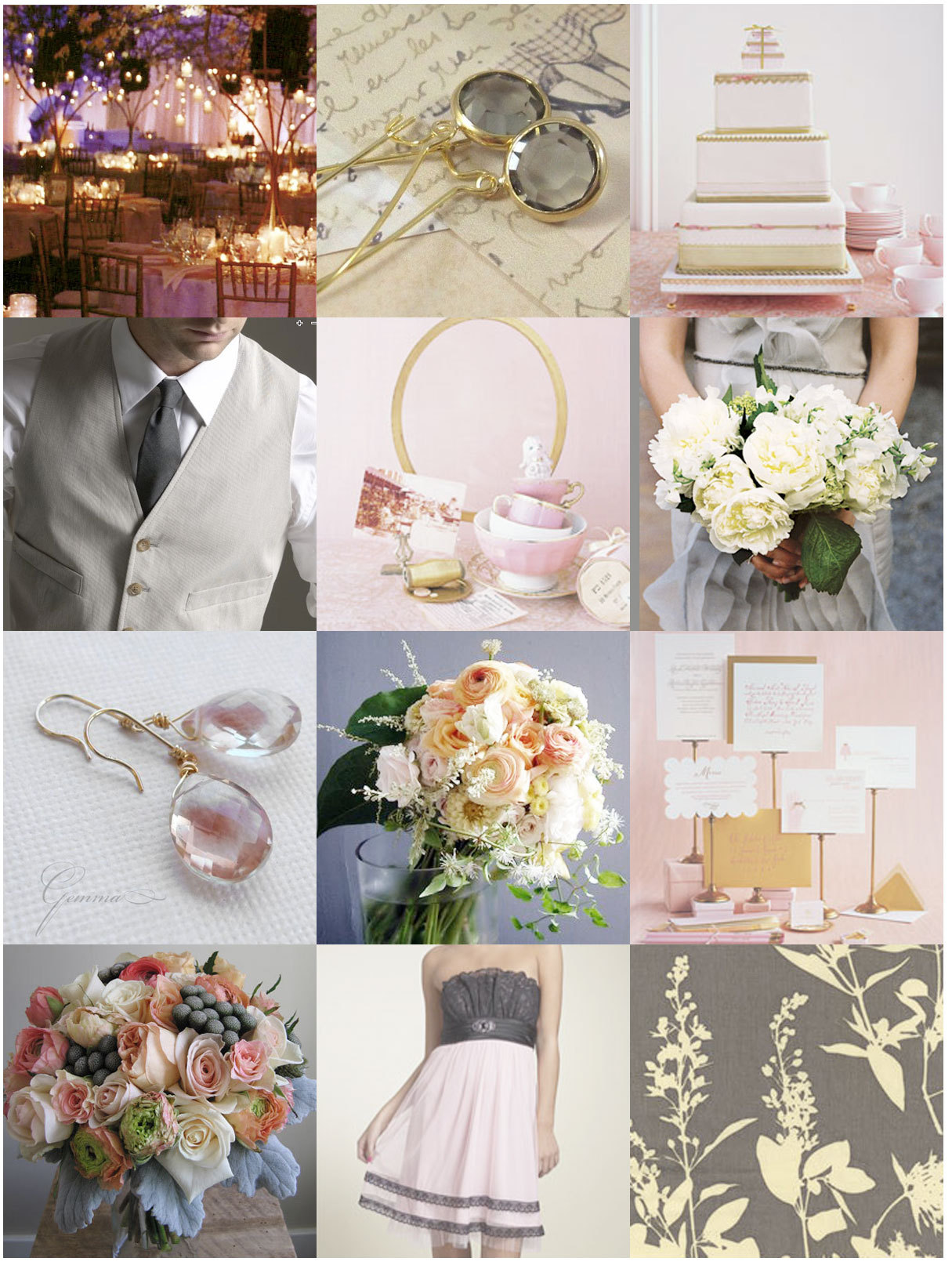 pink, silver, gold, Inspiration board