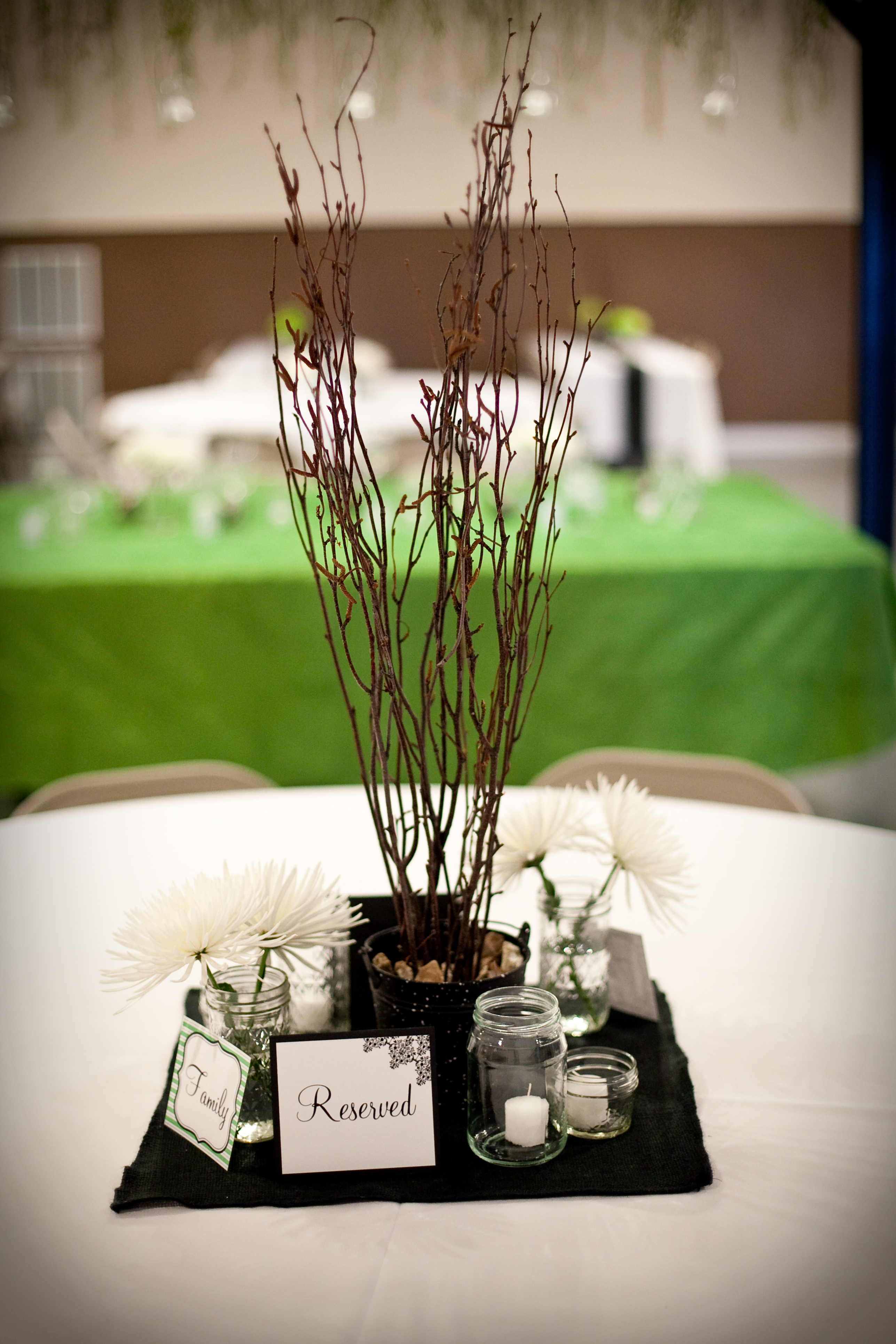 Centerpieces, Branch, Mums, Ball, Jars, Spider