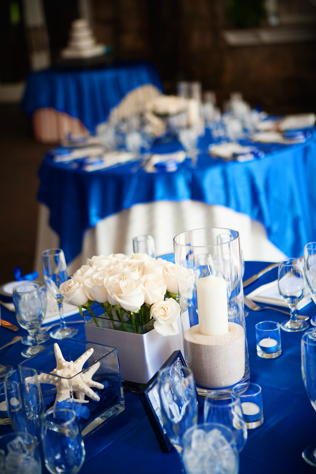 Reception, Flowers & Decor, white, blue, Table, Linen, Overlay