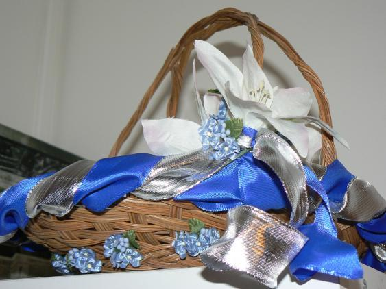 Ceremony, Flowers & Decor, white, blue, silver, Ceremony Flowers, Flowers, Flower girl, Basket