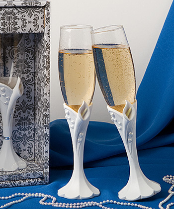 white, ivory, Calla, Champagne, Toasting, Flutes