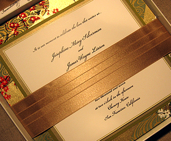 Stationery, gold, Invitations, Orchid, Asian, Brocade