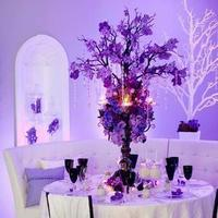 Reception, Flowers & Decor, white, purple, black, Centerpieces, Centerpiece, Table, Setting