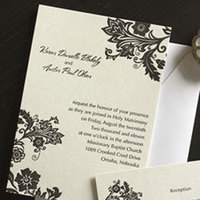 Stationery, white, brown, black, Invitations, Floral