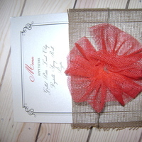 Reception, Flowers & Decor, white, red, brown, Menus, Burlap