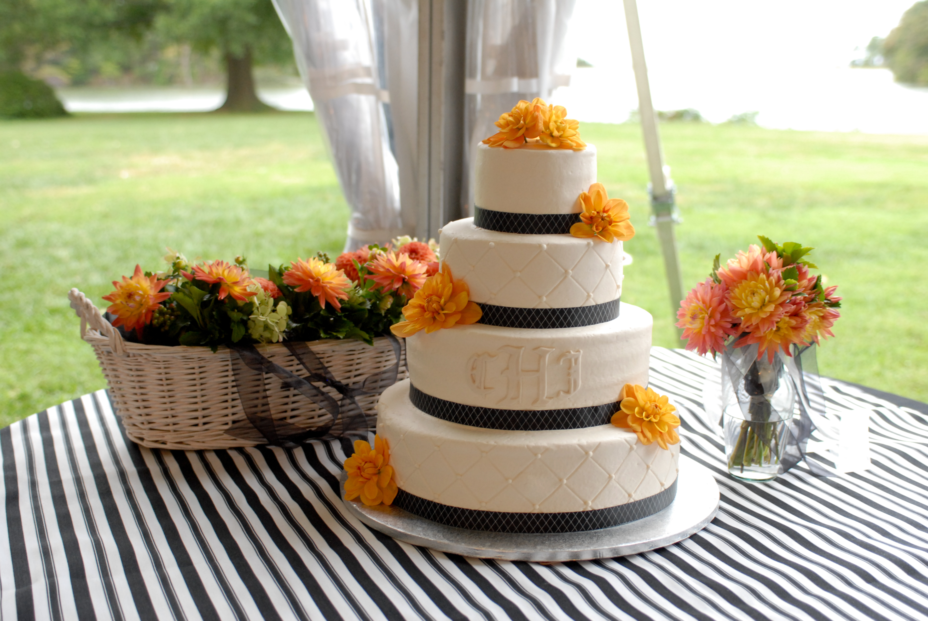 Cakes, white, black, cake, Ribbon Wedding Cakes, Ribbon, Dahlia
