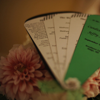 Reception, Flowers & Decor, green, black, Programs, Fan, Dahlias