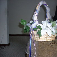 Ceremony, Flowers & Decor, white, purple, blue, green, Ceremony Flowers, Flowers, Flower girl, Basket, Wicker