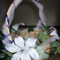 Ceremony, Flowers & Decor, white, purple, blue, green, Ceremony Flowers, Flowers, Flower girl, Basket, Wicker