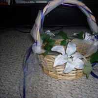 Ceremony, Flowers & Decor, white, purple, blue, green, Ceremony Flowers, Flowers, Flower girl, Basket, Petals, Ivy, Wicker