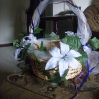 Ceremony, Flowers & Decor, white, purple, blue, green, Ceremony Flowers, Flowers, Flower girl, Basket, Ivy, Wicker