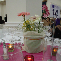 Reception, Flowers & Decor, white, yellow, pink, green, Centerpieces, Flowers, Centerpiece