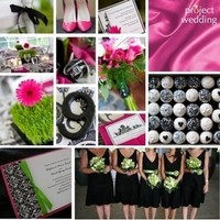 pink, green, black, Inspiration board