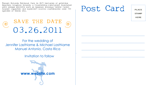 Stationery, orange, blue, Invitations, Postcard, The, Save, Date, Std