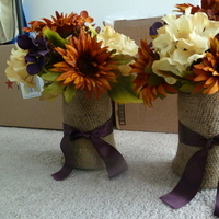 Reception, Flowers & Decor, Centerpieces, Fall, Rustic, Flowers, Fall Wedding Flowers & Decor, Rustic Wedding Flowers & Decor, Centerpiece, Burlap